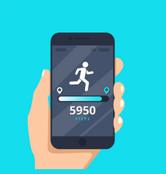 fitness tracking app on mobile phone screen vector image