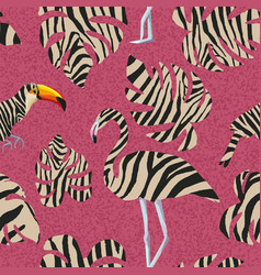 flamingo and toucan in zebra style seamless vector image
