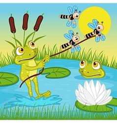 Frog ride on lake vector