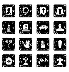 Funeral ritual service icons set grunge vector
