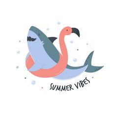 Funny cartoon shark in a flat style vector