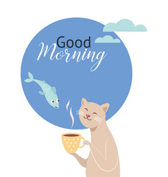 good morning greeting card design vector image