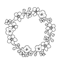 Graphic sakura wreath vector