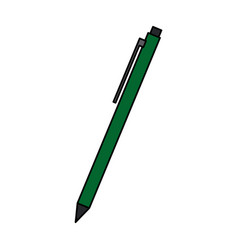 Green pencil write ink work utensil icon vector