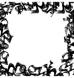 grunge black and white hand drawn frame vector image