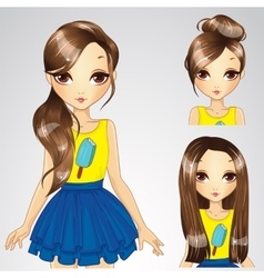Hairstyle Set Of Girl In Yellow Shirt vector image