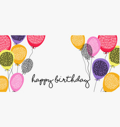 Happy birthday web banner with party balloons vector