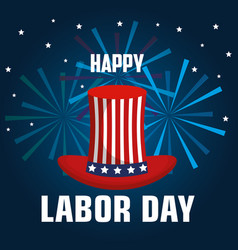 Happy labor day top hat with flag united states vector