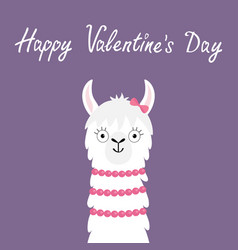 Happy valentines day llama alpaca girl animal vector
