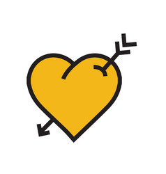 Heart arrow icon yellow color vector