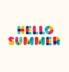 hello summer poster bold colorful style vector image