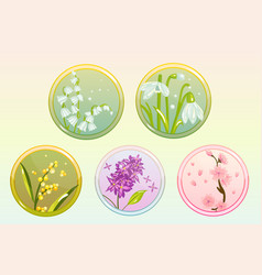 Icon flower set with lilac lily snowdrop sakura vector