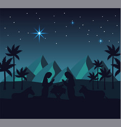 Joseph and mary with jesus in the mountains desert vector