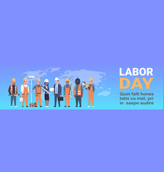 Labor day horizontal template poster with people vector