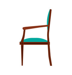 Lassic chair side view comfortable elegance brown vector