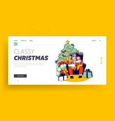 little kids sit on santa knees landing page vector image