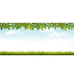 Long white fence banner with grass and leaves vector image