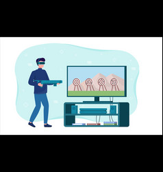 male character is playing a game in augmented vector image