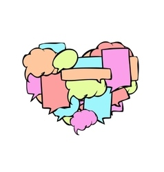 Modern speech bubbles in a heart shape vector