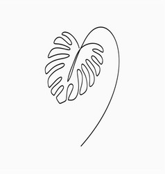 monstera leaf - one line drawing vector image