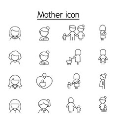 Mother and woman icon set in thin line style vector