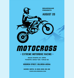 Motocross poster or flyer event modern typography vector