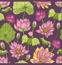 natural seamless pattern with beautiful pink vector image