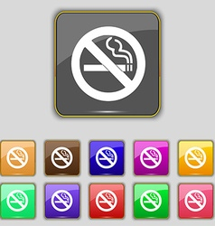 No smoking icon sign Set with eleven colored vector