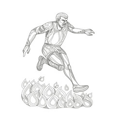 obstacle racer jumping fire doodle art vector image