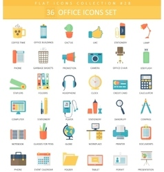 Office color flat icon set Elegant style vector image vector image