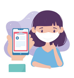 Online health patient with mask and smartphone vector