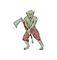 Orc warrior wielding tomahawk cartoon vector