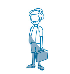 Outlined man traveler toruism vacation suitcase vector