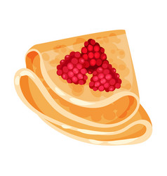 Pancake with raspberries on vector