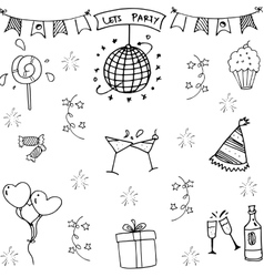 Party in doodle element vector