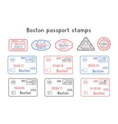 Passport stamps boston usa arrival and vector