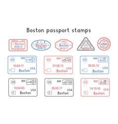 Passport stamps boston usa arrival vector