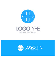 plus sign hospital medical blue solid logo with vector image