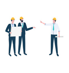 project management workers discussion vector image