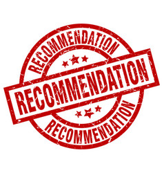 Recommendation round red grunge stamp vector