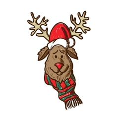 Reindeer in holiday clothes vector