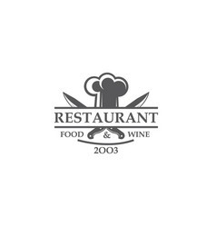 restaurant label with knives and chef hat vector image
