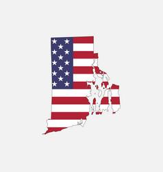 Rhode island map on american flag vector
