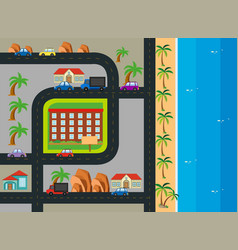 Roadmap with building along the beach vector