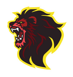roaring lion head logo design vector image