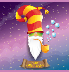 Rock n roll santa claus with smoking pipe vector
