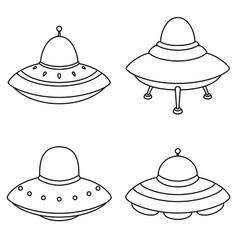 set of alien spaceships icon isolated on white bac vector image