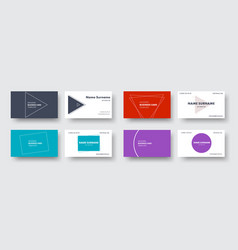 set of business cards in a minimalist style with vector image