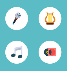 set of music icons flat style symbols with vinyl vector image