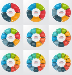Set pie chart infographic templates vector